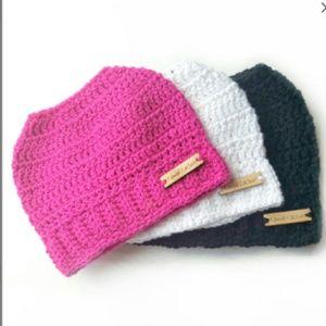 Black Messy bun hat Woman's winter Beanie Mom Hat